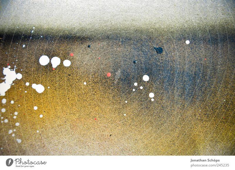 gesprüht weiß blau gelb Farbstoff Graffiti Kunst Hintergrundbild Ecke Tropfen malen Karton spritzen Oberfläche flach frontal Kunstwerk