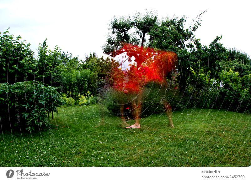 Erscheinung im Gärtchen Bewegung mehrfarbig Dynamik Fantasygeschichte Phantasie glänzend Garten Gras Himmel Himmel (Jenseits) Schrebergarten Kleingartenkolonie