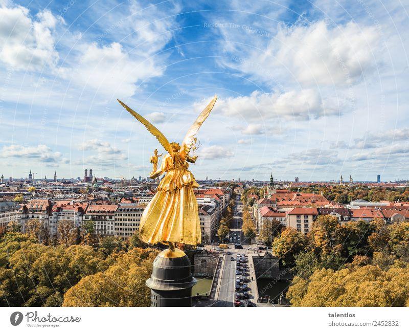 Friedensengel feminin androgyn Kunst Kunstwerk Skulptur München Deutschland Hauptstadt Sehenswürdigkeit Wahrzeichen Denkmal Zeichen Engel ästhetisch