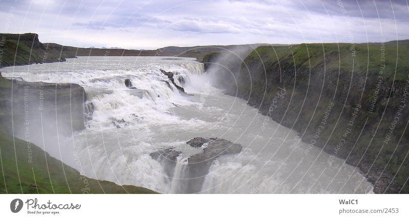 Wasser en masse 03 Natur Kraft Europa Energiewirtschaft Island Wasserfall Umweltschutz Nationalpark unberührt Godafoss