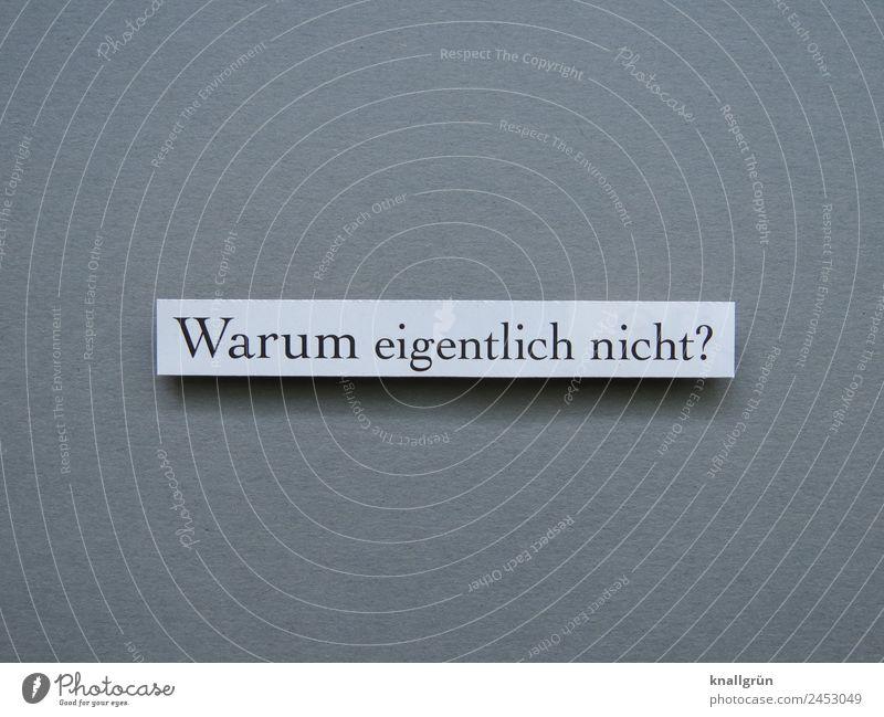 Warum eigentlich nicht? Fragen Neugier Interesse überlegen nachdenken Gefühle grübeln Buchstaben Wort Satz Letter Text Lateinisches Alphabet Schriftzeichen
