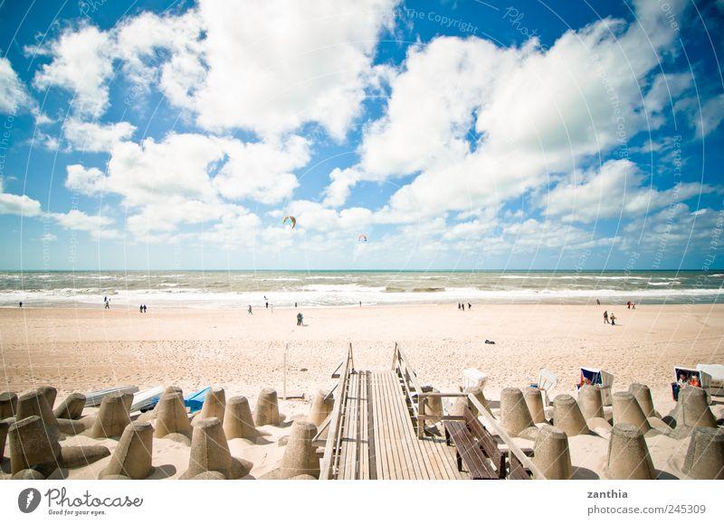 Beach Landschaft Sand Wasser Himmel Wolken Horizont Sommer Schönes Wetter Wellen Küste Strand Nordsee Meer Erholung Ferien & Urlaub & Reisen Tourismus