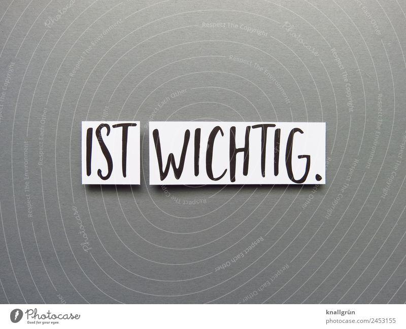 IST WICHTIG. Schriftzeichen Schilder & Markierungen Kommunizieren grau schwarz weiß Gefühle Verantwortung gewissenhaft wichtig Priorität Farbfoto Studioaufnahme
