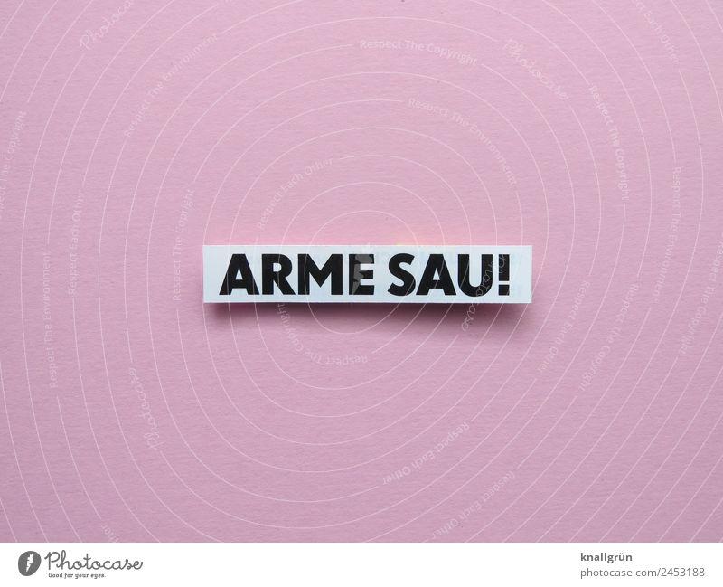 ARME SAU! weiß schwarz Traurigkeit Gefühle rosa Schriftzeichen Kommunizieren Schilder & Markierungen Armut Verzweiflung Sorge Krise Enttäuschung Ärger