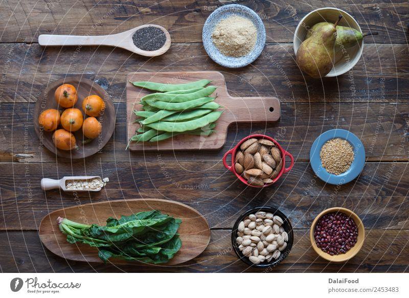 Fasernahrung Lebensmittel Gemüse Frucht Ernährung Essen Vegetarische Ernährung Diät Schalen & Schüsseln Kasten Holz frisch natürlich klug grün Hintergrund
