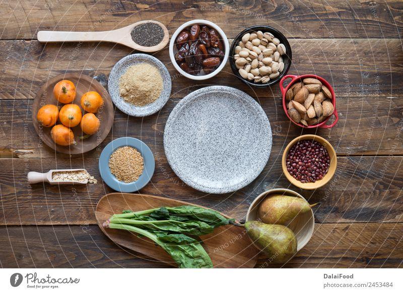 Fasernahrung Gemüse Frucht Ernährung Essen Vegetarische Ernährung Diät Holz frisch natürlich klug grün Hintergrund Kohlenhydrat Kokosnuss Entwurf diätetisch