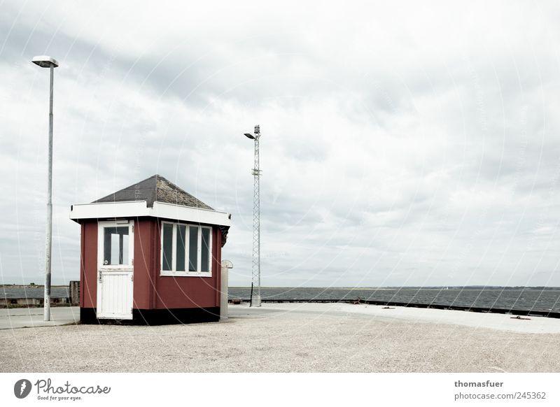 Fährmann hol über Himmel Wasser rot Sommer Ferien & Urlaub & Reisen Meer Wolken Einsamkeit Ferne kalt grau Küste Wellen Wind Horizont Ausflug