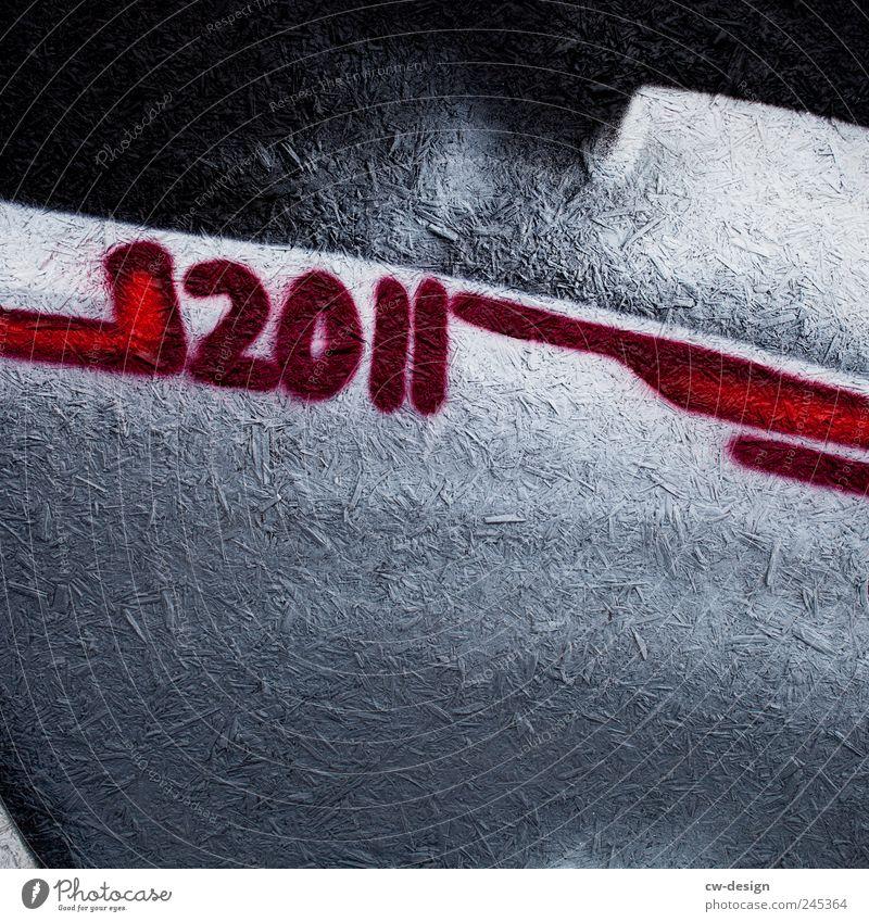 Zeitgeist weiß rot schwarz Graffiti hell Zeit Beginn Lifestyle Schriftzeichen Ziffern & Zahlen Dekoration & Verzierung trendy Ewigkeit Jahreszahl 2011