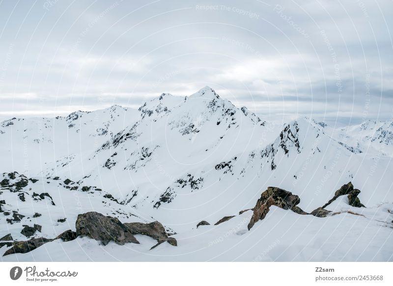 Arlberg | Österreich | Panorama | Winter Umwelt Natur Landschaft Schnee Alpen Berge u. Gebirge Schneebedeckte Gipfel ästhetisch dunkel einfach gigantisch