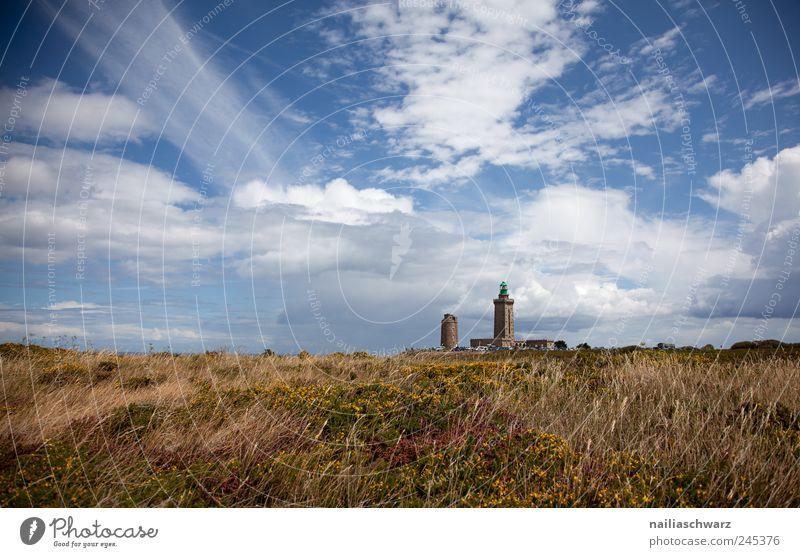 Cap Frehel Natur Landschaft Himmel Wolken Sommer Schönes Wetter Gras Sträucher Moor Sumpf Heide Europa Bauwerk Gebäude Leuchtturm Schifffahrt ästhetisch