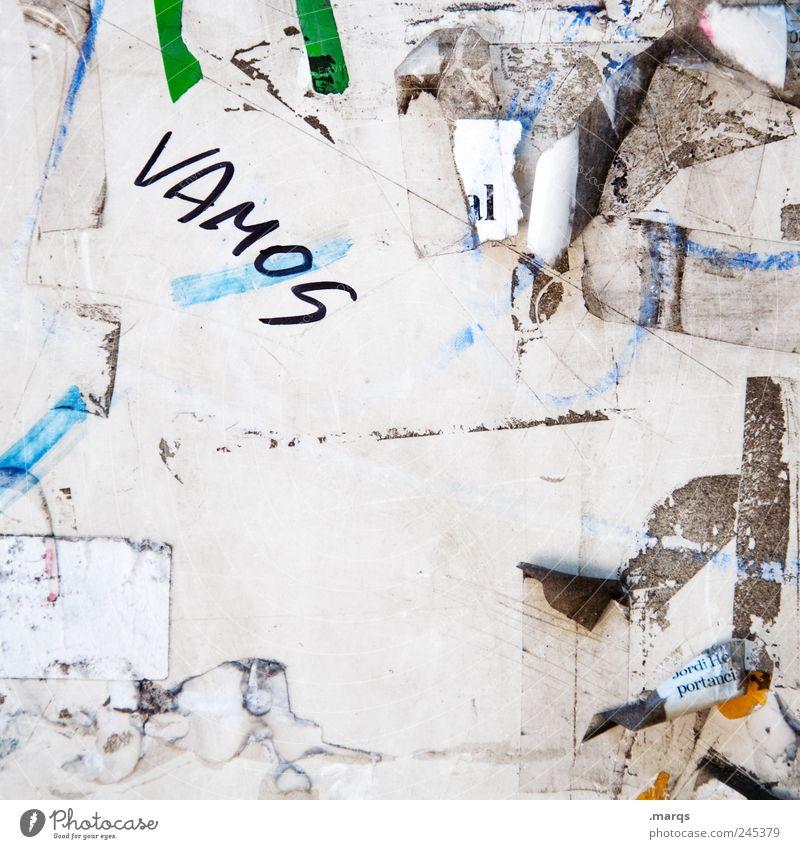 ¡Vamos! Papier Zettel Schwarzes Brett Zeichen Schriftzeichen Beratung Kommunizieren außergewöhnlich Coolness dreckig einzigartig Vorfreude Willensstärke Mut