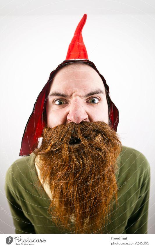 bart Karneval Mensch maskulin Mann Erwachsene Mütze brünett rothaarig Vollbart Behaarung bedrohlich frech lustig Neugier verrückt trashig wild Unglaube
