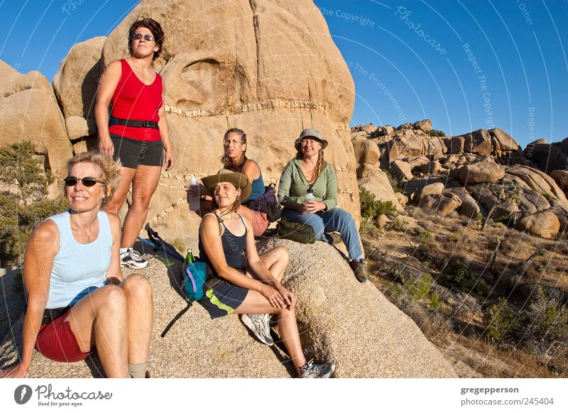 Gruppe von Frauen beim Wandern. Abenteuer wandern Klettern Bergsteigen Erwachsene Freundschaft 5 Mensch 30-45 Jahre Natur Gipfel sportlich Lebensfreude