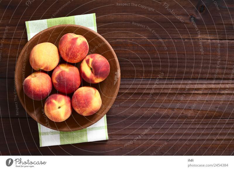 Frische reife Pfirsiche Frucht Ernährung frisch Gesundheit natürlich saftig Lebensmittel Steinfrucht Snack süß roh unscharf Flaum rustikal Kopie Raum Overhead