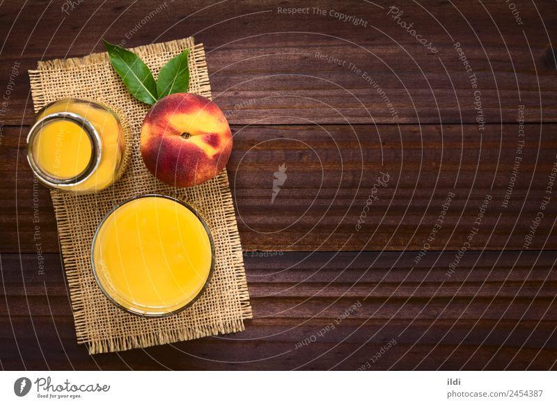 Pfirsichsaft oder Nektar Frucht Getränk Saft frisch Lebensmittel trinken Steinfrucht Erfrischung süß Glas Gesundheit Overhead Kopie Raum horizontal erfrischend