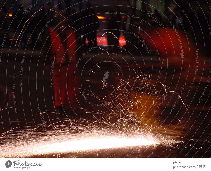 Gleisarbeiten Wärme Eisenbahn Energiewirtschaft Baustelle Physik Gleise Bahnhof Maschine Straßenbahn Funken