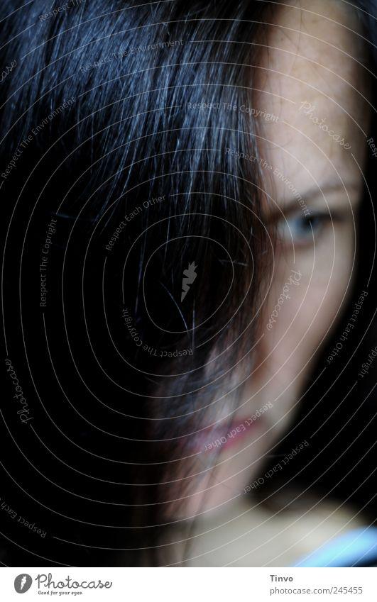 ist.bin.sein. feminin Frau Erwachsene Kopf Haare & Frisuren 30-45 Jahre brünett langhaarig dunkel Traurigkeit Trauer Enttäuschung Einsamkeit Gefühle