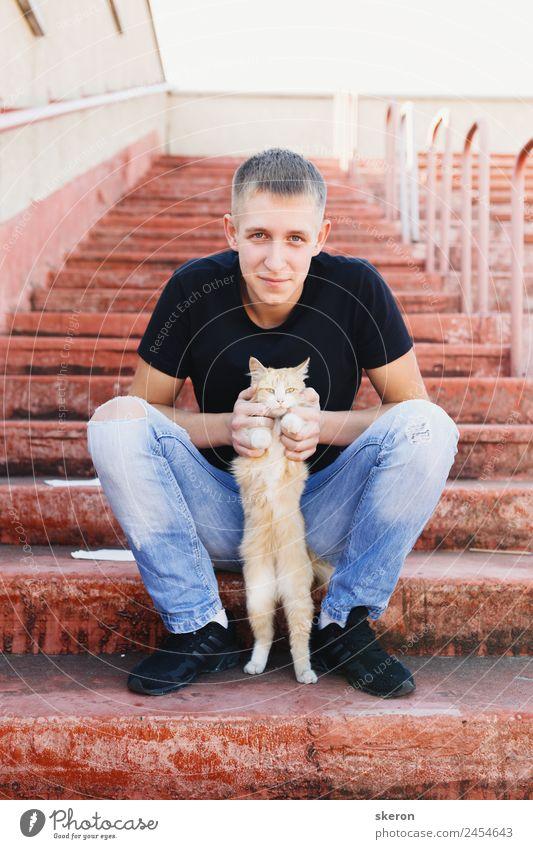 Katze Mensch Ferien & Urlaub & Reisen Jugendliche Tier 18-30 Jahre Lifestyle Erwachsene Wand Gefühle Mauer Arbeit & Erwerbstätigkeit Stimmung Freizeit & Hobby