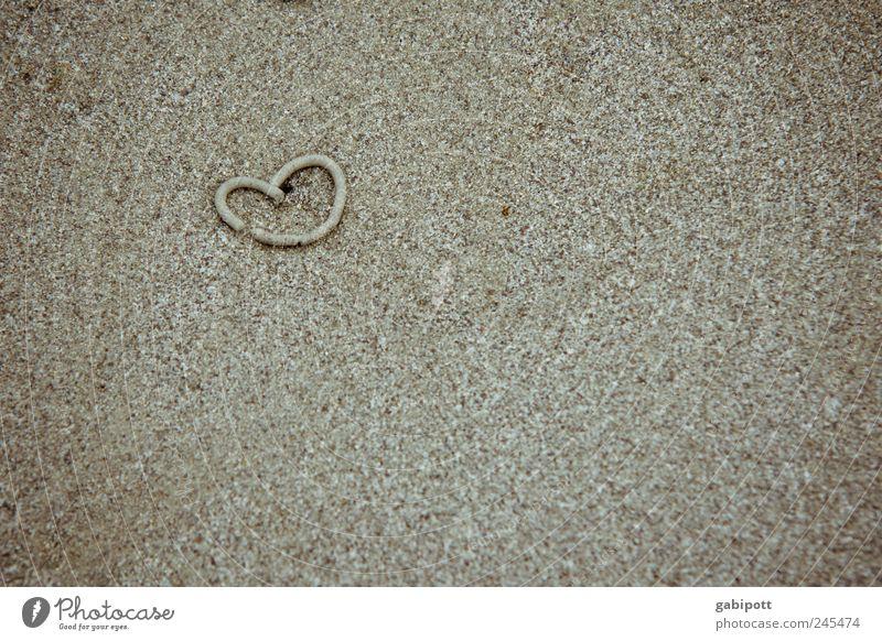 Sandwurmliebe Sommer Strand Ferien & Urlaub & Reisen Liebe Gefühle Glück Sand braun Herz Tourismus Romantik niedlich Verliebtheit Sommerurlaub herzlich beachten