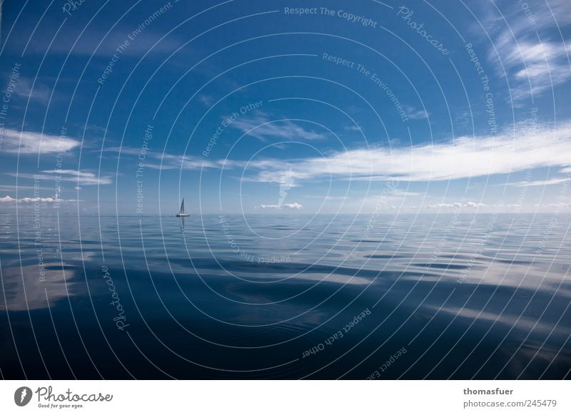 ... und einsam blinkt ein weißes Segel. Ferien & Urlaub & Reisen Abenteuer Ferne Freiheit Sommer Sommerurlaub Meer Insel Wassersport Segeln Luft Himmel Wolken