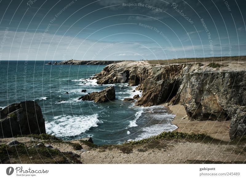 Die wilde Küste (côte sauvage) Umwelt Natur Landschaft Urelemente Erde Wasser Himmel Wolken Sommer Felsen Wellen Strand Meer Atlantik Bretagne Frankreich