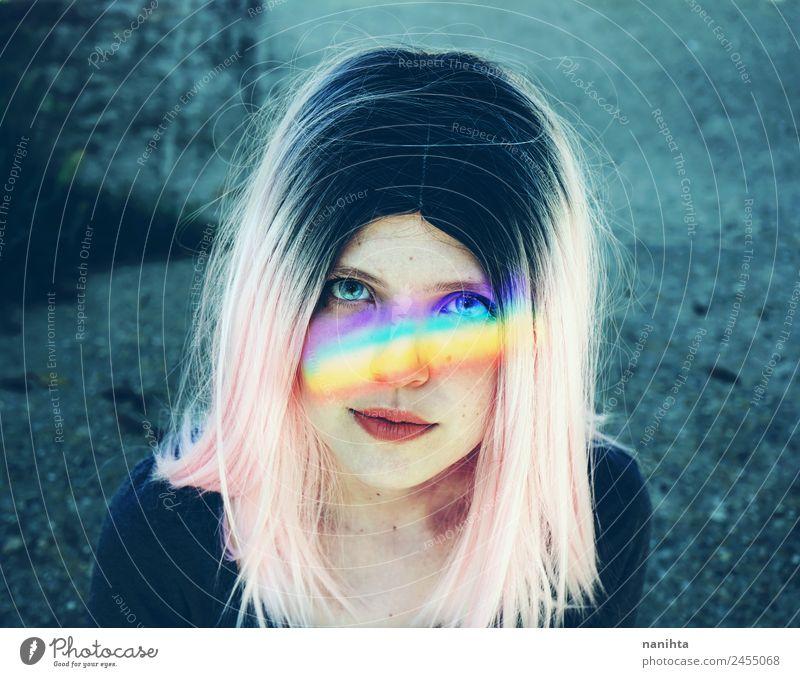 Mensch Jugendliche Junge Frau schön 18-30 Jahre Gesicht Erwachsene Lifestyle feminin Stil Kunst Haare & Frisuren Design träumen frisch Kultur