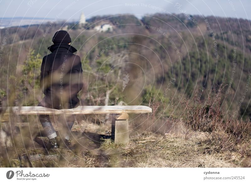 Aussichtpunkte Mensch Mann Natur Einsamkeit ruhig Erwachsene Wald Ferne Erholung Umwelt Leben Landschaft Berge u. Gebirge Freiheit träumen Zeit