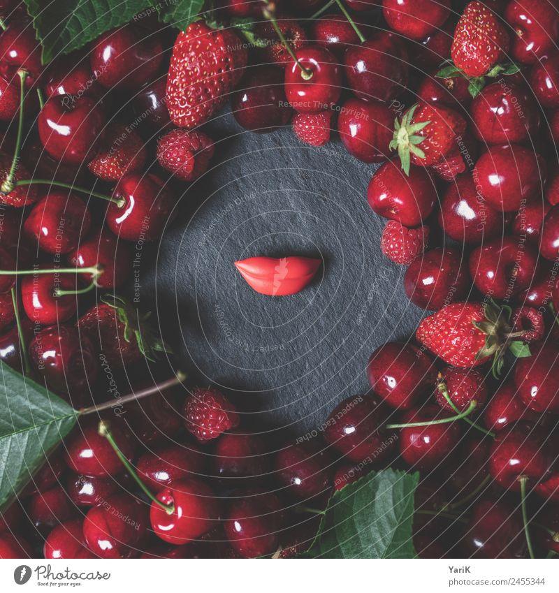 berry lips Frucht schön Erotik Kirsche Himbeeren Erdbeeren Lippen Mund Schiefer Beeren Sommer fruchtig frisch sommerlich Ernte Vitamin Wellness Gesundheit