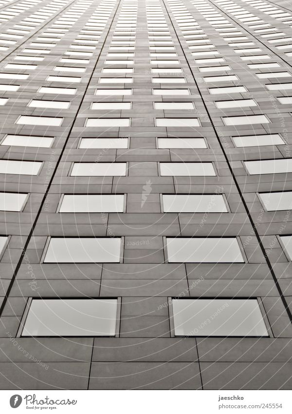Spaceship MDR Stadt Einsamkeit Fenster kalt grau Gebäude Linie Arbeit & Erwerbstätigkeit Fassade hoch modern Hochhaus Wachstum Zukunft trist bedrohlich