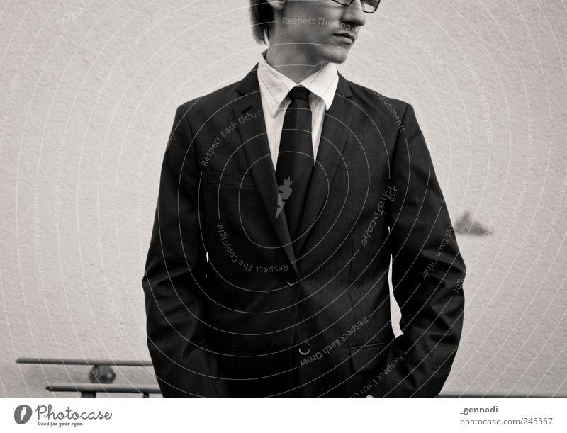 Klassik Mensch maskulin 1 18-30 Jahre Jugendliche Erwachsene Arbeitsbekleidung Anzug Krawatte Brille historisch einzigartig schön Stil Business retro verfaulen
