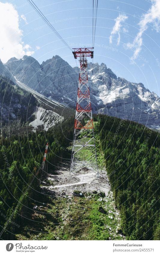 Mast of a cableway in the alps Natur Landschaft Abenteuer Seilbahn Gondellift Alpen fantastisch Sommer sommerlich Sonne Sonnenstrahlen Nadelwald