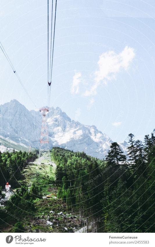 Mast of a cableway in the alps Natur Abenteuer Gondellift Riesenrad Seilbahn Nadelbaum Nadelwald Waldlichtung Berge u. Gebirge Alpen Sonnenstrahlen Sommer