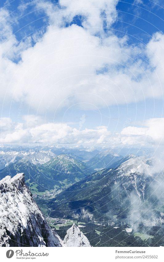 The alps - view from Zugspitze mountain Himmel Natur Sommer Landschaft Sonne Wolken Wald Berge u. Gebirge Gipfel Alpen