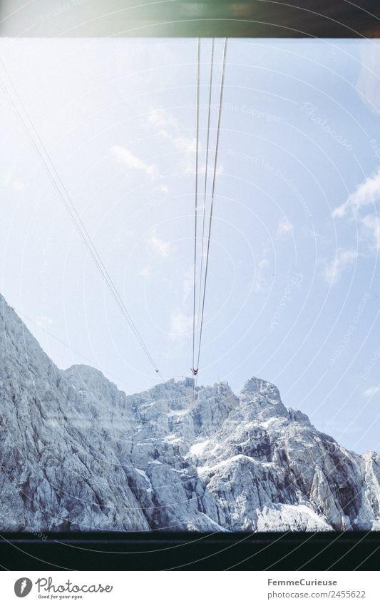 Ropes of a gondola in the alps Natur Alpen Berge u. Gebirge Sonne Sonnenstrahlen Gondellift Riesenrad Seilbahn Himmel Sommer sommerlich Farbfoto Außenaufnahme