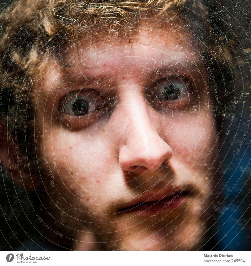 Blick Lifestyle Mensch maskulin Junger Mann Jugendliche Auge Nase 1 18-30 Jahre Erwachsene Coolness nachdenklich dreckig Fenster Frustration gefangen Trauer