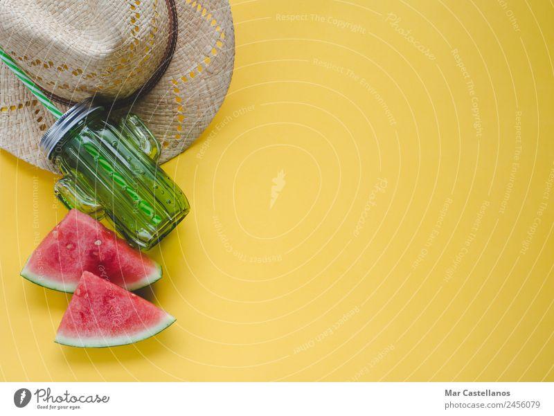 Natur Ferien & Urlaub & Reisen Sommer Farbe grün Meer rot Strand gelb Mode Frucht Ernährung frisch Tisch schreiben lecker