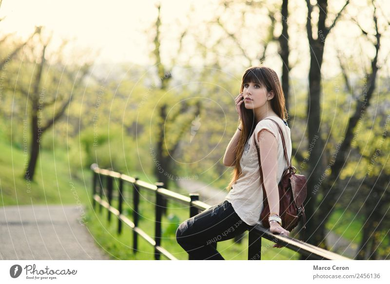 Frau Mensch Natur Ferien & Urlaub & Reisen Jugendliche Sommer schön grün Baum Erholung Einsamkeit ruhig 18-30 Jahre Gesicht Erwachsene Lifestyle