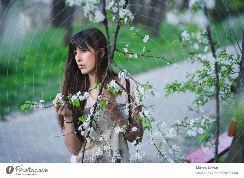 Frau Natur Jugendliche Junge Frau Sommer schön grün Blume Erholung Einsamkeit ruhig Mädchen 18-30 Jahre Lifestyle Gesundheit Frühling