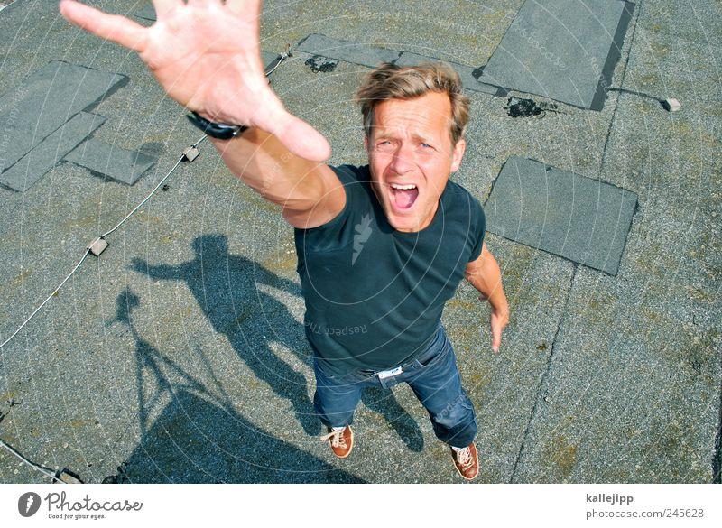 selbstauslöser Mensch Mann Erwachsene 1 30-45 Jahre springen Fotograf Stativ Selbstportrait fotowettbewerb Fotokamera Schatten Hand greifen stoppen Farbe