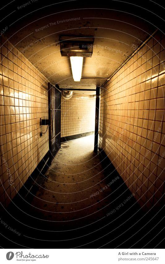 below 125th Harlem USA Tunnel Bauwerk Gebäude Mauer Wand leuchten dreckig dunkel glänzend hässlich unten gelb gold schwarz Gang Fliesen u. Kacheln Ausgang