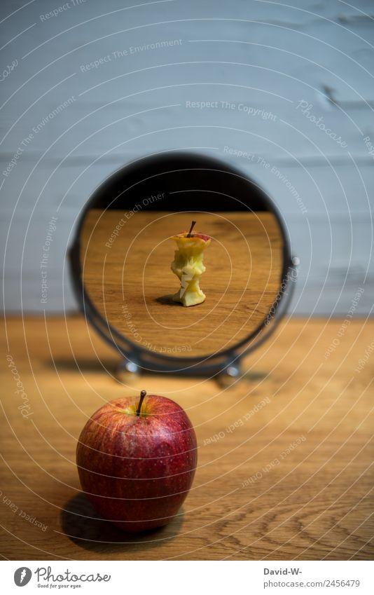 Zauberspiegel Gesunde Ernährung Gesundheit Lebensmittel Gesundheitswesen Stil Kunst außergewöhnlich Frucht Design elegant Zukunft Vergangenheit Apfel Spiegel
