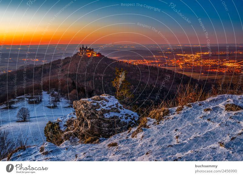Die Burg Hohenzollern Ferien & Urlaub & Reisen blau Landschaft weiß Winter Wald Berge u. Gebirge Architektur Beleuchtung Schnee Tourismus Deutschland Stein