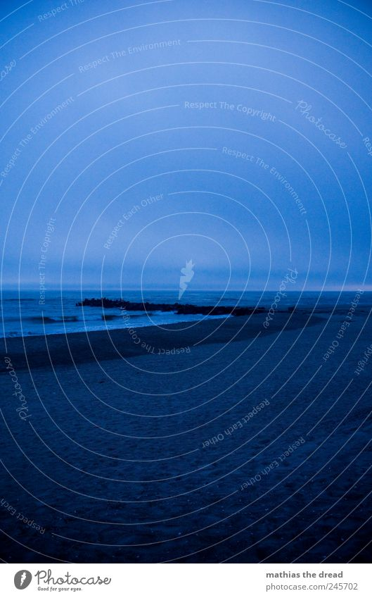 DÄNEMARK - V Umwelt Natur Landschaft Sand Wasser Himmel Wolken Horizont Wetter schlechtes Wetter Wellen Küste Strand Nordsee Aggression dunkel kalt blau Mole