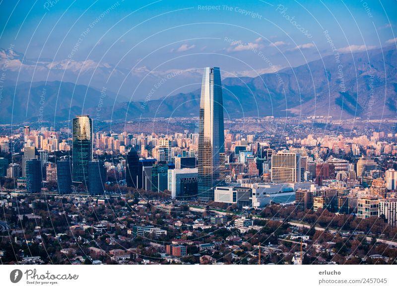 Santiago, Chile Schnee Berge u. Gebirge Wohnung Büro Kapitalwirtschaft Business Himmel Sonnenaufgang Sonnenuntergang Sonnenlicht Fluss Stadt Hauptstadt