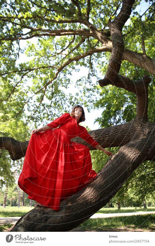 Ulreka Frau Mensch schön Baum rot Erwachsene Leben feminin Bewegung Park frei elegant stehen Kreativität Schönes Wetter beobachten