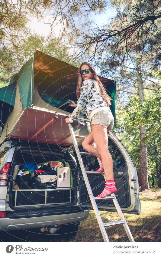 Frau Mensch Natur Ferien & Urlaub & Reisen Sommer Baum Erholung Freude Wald Berge u. Gebirge Erwachsene Lifestyle Herbst Glück Ausflug Freizeit & Hobby