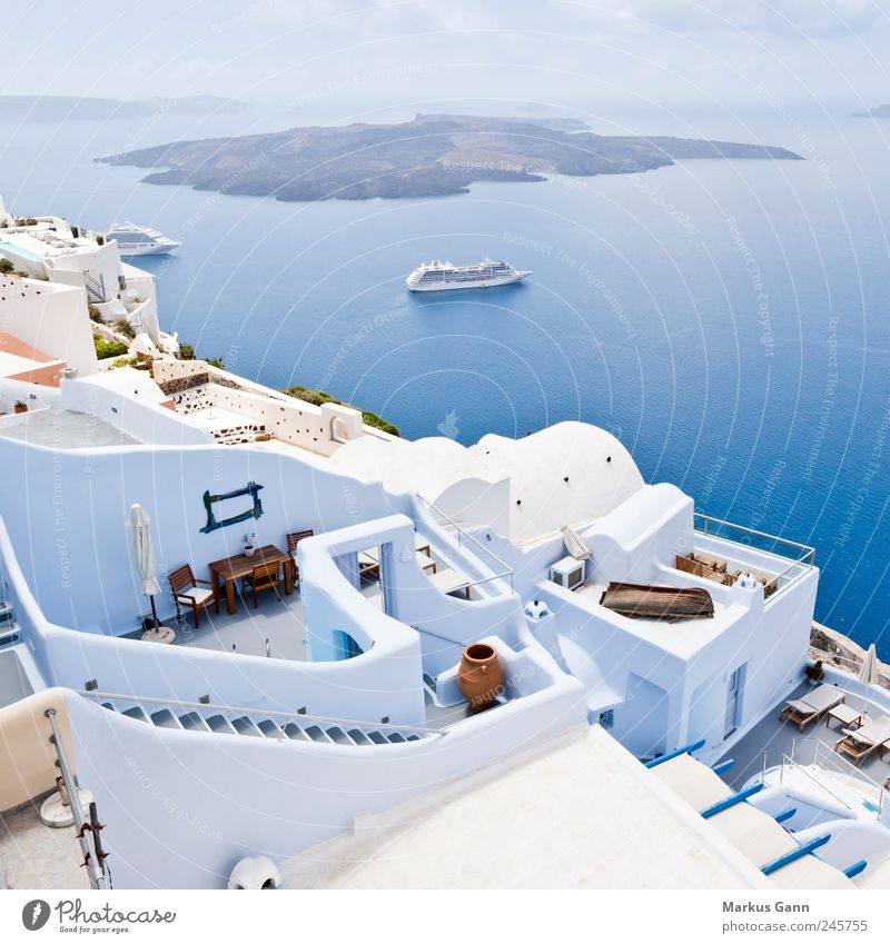 Santorini Erholung Ferien & Urlaub & Reisen Tourismus Sommer Sommerurlaub Meer Insel Landschaft Wasser Himmel Wolken Kleinstadt blau weiß Zufriedenheit Caldera