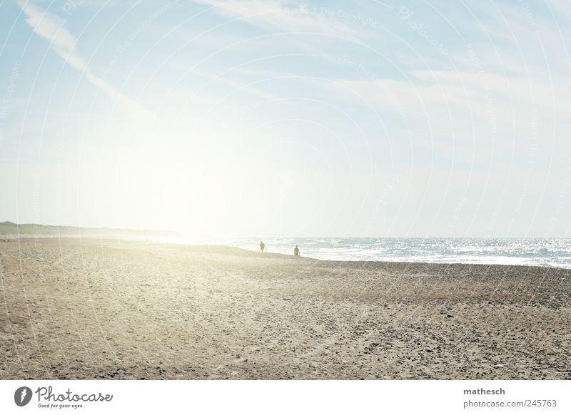 delight Mensch Himmel Wasser Sonne Sommer Strand Wolken Sand Luft Küste hell Wellen Nordsee Schönes Wetter Dänemark