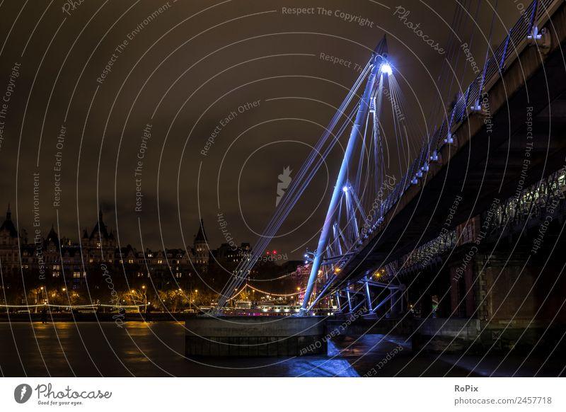 Golden Jubilee Bridge Tourismus Sightseeing Städtereise Skulptur Architektur Umwelt Landschaft Wasser Himmel Nachthimmel Fluss Themse London England