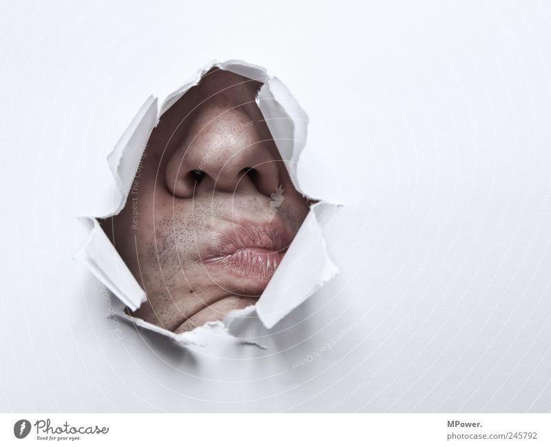 ....nase zu tief in was rein gesteckt... Mensch weiß Kopf Mund Erwachsene Angst Haut Nase Papier maskulin kaputt Lippen Hautfalten Küssen gruselig Falte